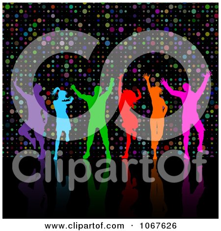 Clipart Colorful Silhouetted People Dancing Over Dots - Royalty Free Vector Illustration by KJ Pargeter