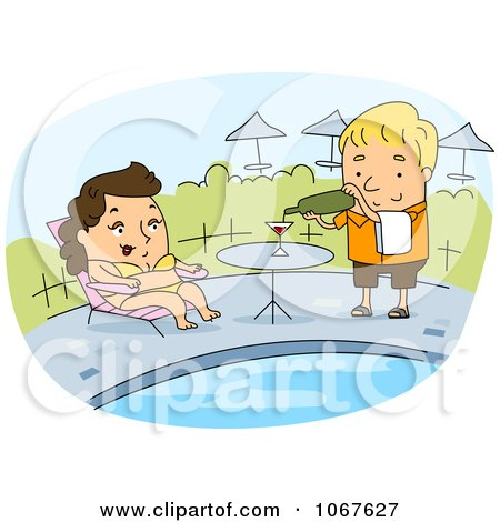 Clipart Poolside Waiter Serving A Woman - Royalty Free Vector Illustration by BNP Design Studio