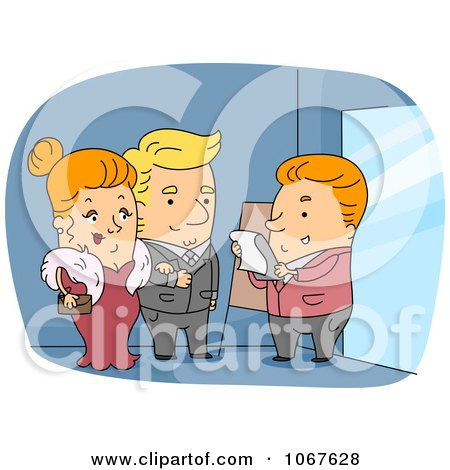 Clipart Doorman Checking A Guest List - Royalty Free Vector Illustration by BNP Design Studio