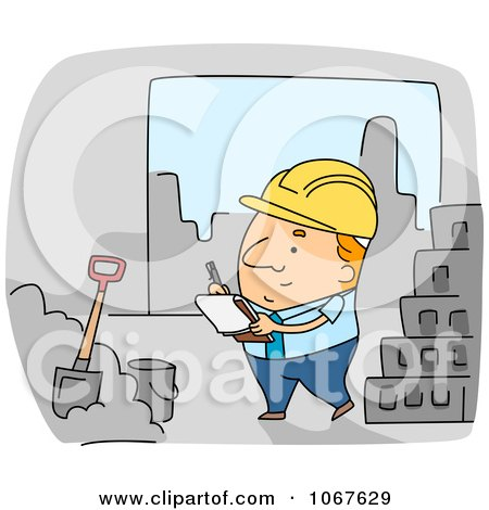 Clipart Foreman Inspecting Construction Work - Royalty Free Vector Illustration by BNP Design Studio