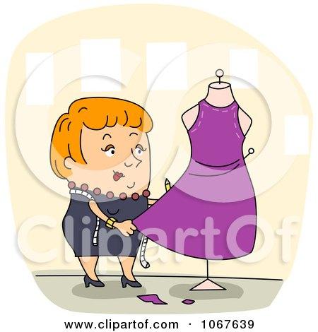 Clipart Fashion Designer Working On A Dress - Royalty Free Vector Illustration by BNP Design Studio