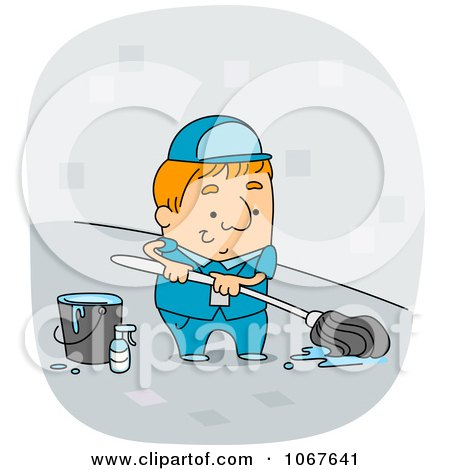 Clipart Custodian Mopping A Floor - Royalty Free Vector Illustration by BNP Design Studio