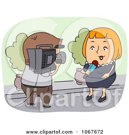 Clipart Cameraman And Female News Reporter - Royalty Free Vector Illustration by BNP Design Studio