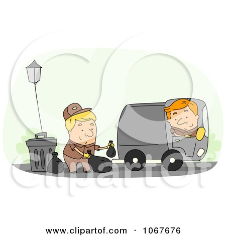 Clipart Garbage Men Doing Their Rounds - Royalty Free Vector Illustration by BNP Design Studio