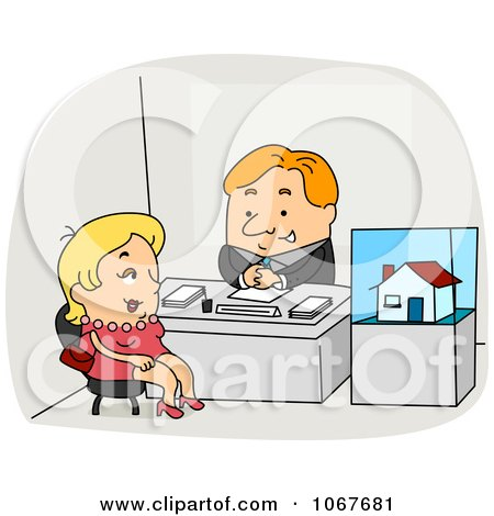 Clipart Real Estate Agent Speaking With A Client - Royalty Free Vector Illustration by BNP Design Studio