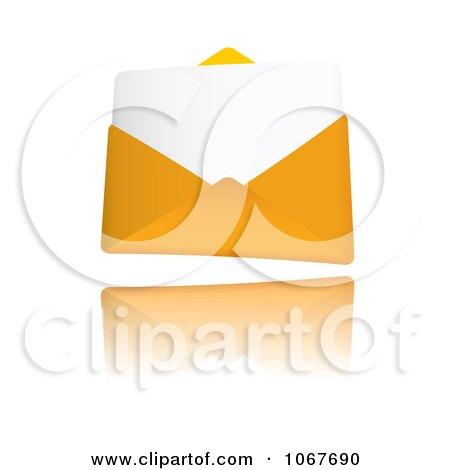 Clipart 3d Letter In An Orange Envelope - Royalty Free Vector Illustration by michaeltravers