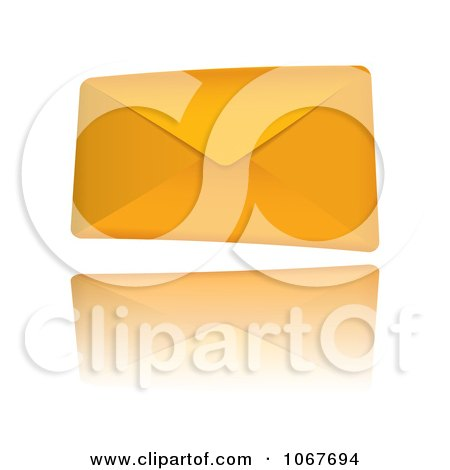 Clipart 3d Orange Envelope - Royalty Free Vector Illustration by michaeltravers