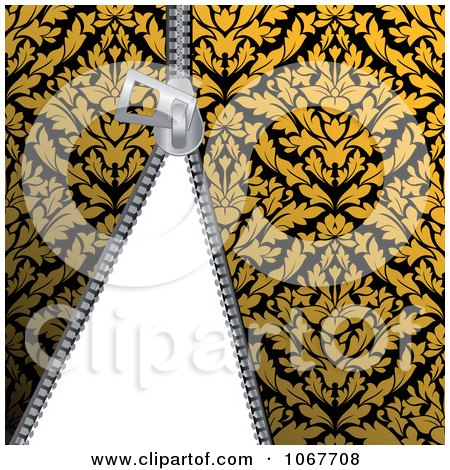 Clipart Zipper Through Gold Damask - Royalty Free Vector Illustration by Vector Tradition SM