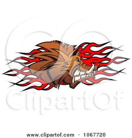 Clipart Profiled Boar And Flames - Royalty Free Vector Illustration by Vector Tradition SM