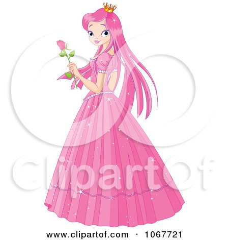Clipart Pink Princess Holding A Rose - Royalty Free Vector Illustration by Pushkin