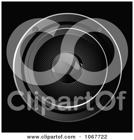 Clipart Black Music Speaker Background - Royalty Free Vector Illustration by Pushkin