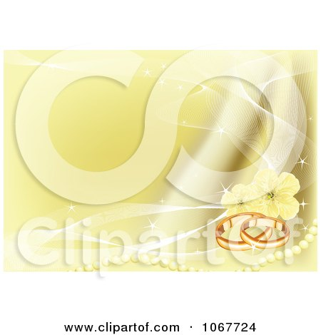 Clipart Gold Wedding Band Pearl And Blossom Background Royalty Free Vector