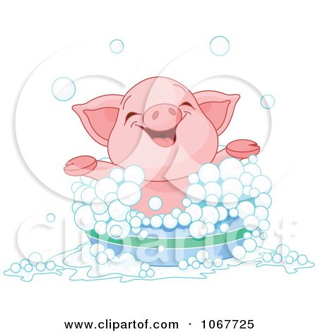 Clipart Happy Piglet Taking A Bath - Royalty Free Vector Illustration by Pushkin