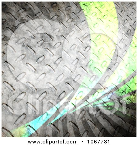 Clipart Steel Grungy Diamond Plate And Green Swoosh Background - Royalty Free CGI Illustration by Arena Creative