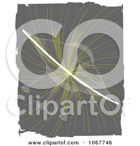 Clipart Transparent UFO On A Gray Swirl - Royalty Free Vector Illustration by mheld