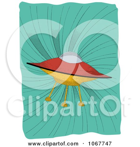 Clipart UFO On A Retro Turquoise Swirl - Royalty Free Vector Illustration by mheld
