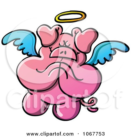 Clipart Pig Angel In Prayer - Royalty Free Vector Illustration by Zooco