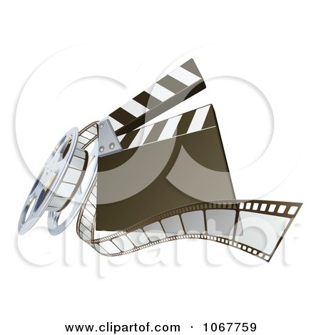 Clipart 3d Clapperboard And Film Reel - Royalty Free Vector Illustration by AtStockIllustration