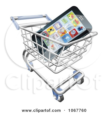 Clipart 3d Cell Phone With Apps In A Shopping Cart - Royalty Free Vector Illustration by AtStockIllustration