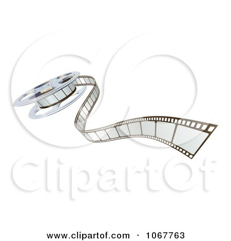 Clipart 3d Cinema Film Reel And Strip - Royalty Free Vector Illustration by AtStockIllustration