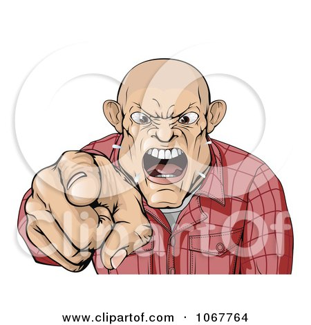 Clipart Angry Skinhead Man Yelling And Pointing - Royalty Free Vector Illustration by AtStockIllustration