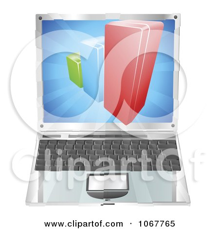 Clipart 3d Bar Graph Emerging From A Laptop Screen - Royalty Free Vector Illustration by AtStockIllustration