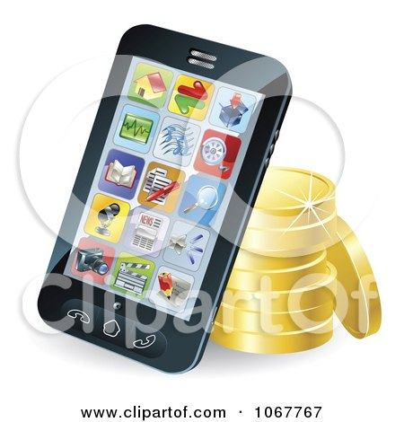 Clipart 3d Cellphone Resting Against Gold Coins - Royalty Free Vector Illustration by AtStockIllustration