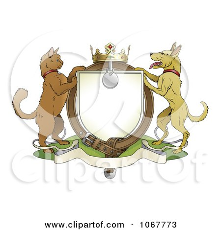 Cat And Dog Pets Coat Of Arms With A Collar Posters, Art Prints