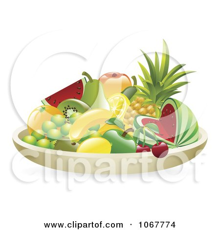 Clipart 3d Bowl Of Tropical Fruit - Royalty Free Vector Illustration by AtStockIllustration
