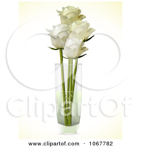 Clipart Four Ivory Roses In A Vase - Royalty Free Vector Illustration by elaineitalia
