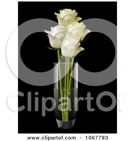Clipart Three Cream Roses In A Vase - Royalty Free Vector Illustration by elaineitalia