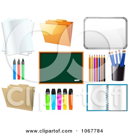 Clipart Office And School Supplies - Royalty Free Vector Illustration by elaineitalia
