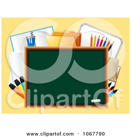 Clipart 3d Chalk Board With School Supplies - Royalty Free Vector Illustration by elaineitalia