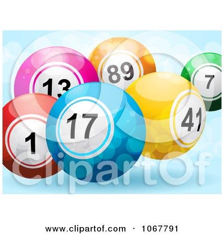 Clipart 3d Bingo Balls And Sparkles On Blue - Royalty Free Vector Illustration by elaineitalia