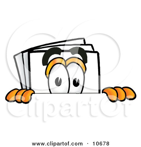 Clipart Picture of a Paper Mascot Cartoon Character Peeking Over a Surface by Toons4Biz