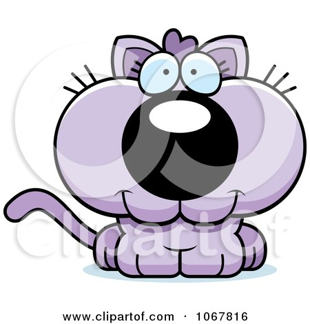 Clipart Smiling Purple Kitten - Royalty Free Vector Illustration by Cory Thoman