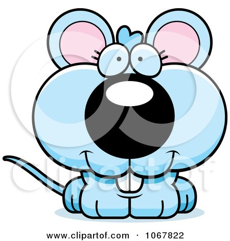 Clipart Smiling Blue Mouse - Royalty Free Vector Illustration by Cory Thoman