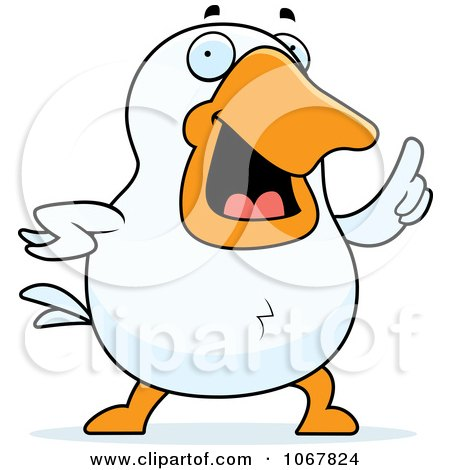 Clipart White Duck With An Idea - Royalty Free Vector Illustration by Cory Thoman