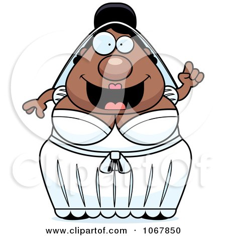 Clipart Pudgy Black Bride With An Idea - Royalty Free Vector Illustration by Cory Thoman