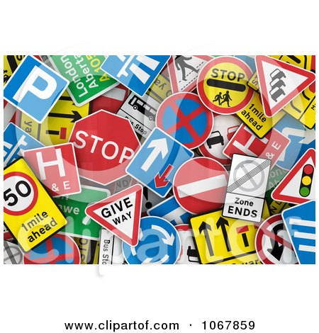 Clipart Background Of 3d Uk Traffic Signs Royalty Free