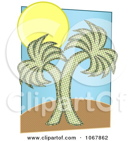 Clipart Two Palm Trees And Sun - Royalty Free Vector Illustration by mheld
