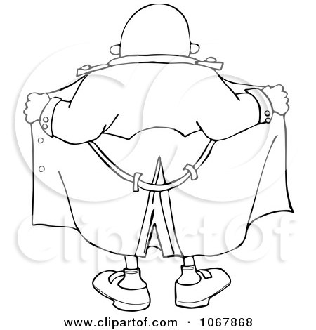 Clipart Outlined Flasher Man From Behind - Royalty Free Vector Illustration by djart