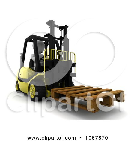 Clipart 3d White Character Moving A Pallet On A Forklift - Royalty Free CGI Illustration by KJ Pargeter
