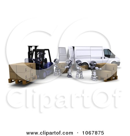 Clipart 3d Robots With A Van And Forklift In A Warehouse - Royalty Free CGI Illustration by KJ Pargeter
