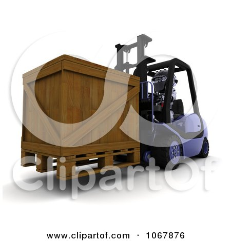 Clipart 3d Robot Moving A Crate On A Forklift - Royalty Free CGI Illustration by KJ Pargeter