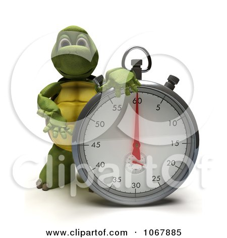 Clipart 3d Tortoise With A Stop Watch - Royalty Free CGI Illustration by KJ Pargeter