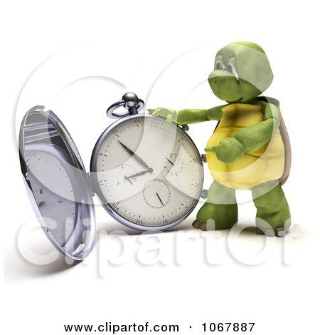 Clipart 3d Tortoise With A Pocket Watch - Royalty Free CGI Illustration by KJ Pargeter