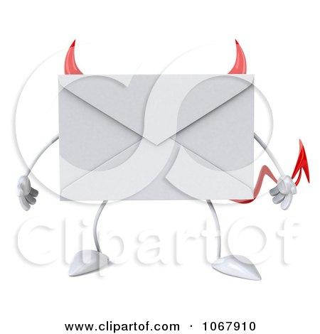 Clipart 3d Devil Envelope - Royalty Free CGI Illustration by Julos