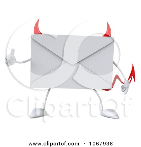 Clipart 3d Thumbs Up Devil Envelope 1 - Royalty Free CGI Illustration by Julos