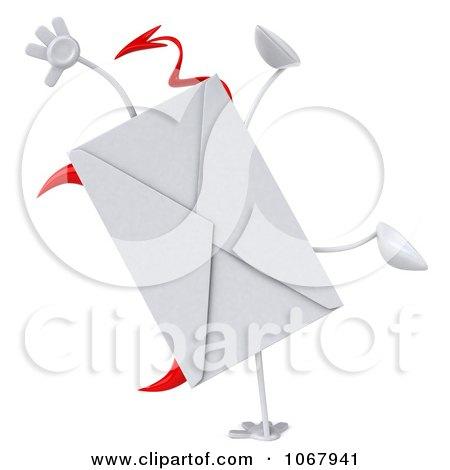 Clipart 3d Devil Envelope Doing A Cartwheel - Royalty Free CGI Illustration by Julos